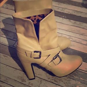 Cream Colored leather (faux) booties